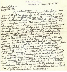 Ltr from EB Hawkins to Mrs Lillian Poe Wagner dated 16 Mar 1942 (Anna L and John F Nash Collection)