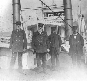 Capt Thomas S Calhoon (left) aboard the Virginia 1896 (From the Collection of The Public Library of Cincinnati and Hamilton County)
