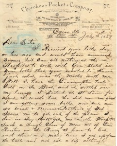 Ltr on Cherokee Packet Co dated 5 Jul 1889 (Anna L and John F Nash Collection)