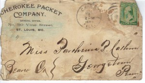 Ltr Cherokee Packet Co Envelop 7 Jul 1889 (Anna L and John F Nash Collection)