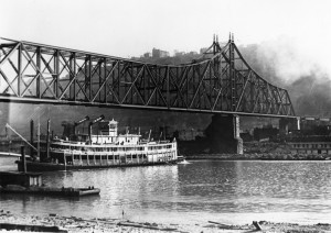 The Virginia passing under the Wabash Bridge note the stacks (From the Public Library of Cincinnati and Hamilton County.