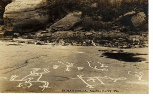 Indian Pictographs at Smith's Ferry Postcard dated 1908 (Anna L and John F Nash Collection)