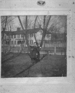 Hotel with Lillian Poe in Calhoon Yard ca1896 (Anna L and John F Nash Collection)