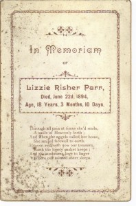 Lizzie Rasher Parr died 22 Jun 1894 (Anna L and John F Nash Collection)