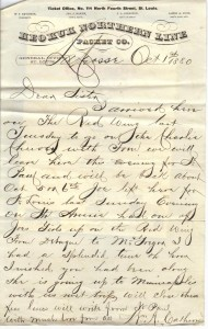 Ltr Keokuk WmA Calhoon to Parthenia Calhoon Oct 1 1880 091112x
