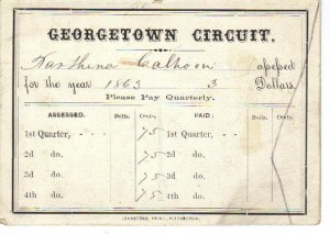Georgetown Circuit Contribution Card 1865 (Anna L and John F Nash Collection)