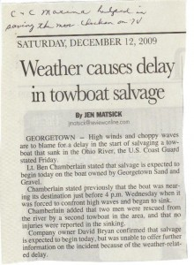 Towboat Sunk The Review 12 Dec 2009 (Courtesy of Frances Finley)