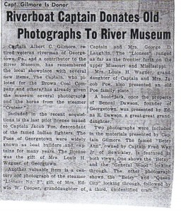 Ohio River Museum Donation ca 1965