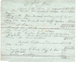 Poe receipt dated 1852 (Frances and John Finley Collection)