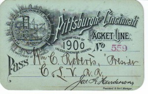 Pittsburgh and Cincinnati Packet Line Boarding Pass 1900 (F Nash Collection)