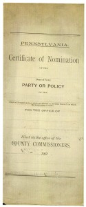 Cover of the Certificate of Nomination for the Repulican Party in Georgetown 1896 (Frances and John Finley Collection)