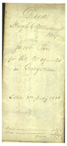 Jacob Poe Deed for Lots 19 and 20 (Frances and John Finley Collection)