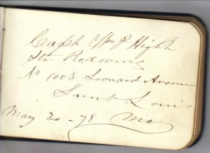 Capt Wm T Hight Signature (Collection of Frances and John Finley)