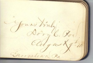 Theodore Cochran Poe Signature (Collection of Frances and John Finley)