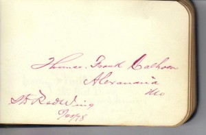 Thomas Franklin Calhoon Signature (Collection of Frances and John Finley)