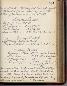 BM Laughlin list of Pitt Cin Packet Line Steamers (Frances and John Finley Collection)