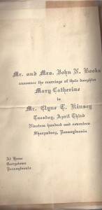 Clyne Kinsey Wedding 1917 (Anna L and John F Nash Collection)