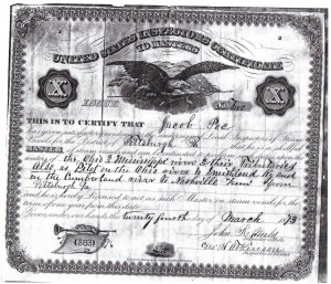 Jacob Poe Master License 1873 (Courtesy of the Wellsvile Ohio River Museum)