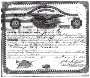 Poe Master License 1890 (Courtesy of the Wellsvile Ohio River Museum)