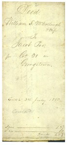 Deed Lot 21 1850 p1 (Frances and John Finley Collection)