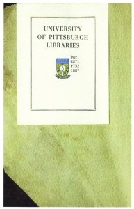 Capt Adam Poe Book fly leaf (University of Pittsburgh Libraries)