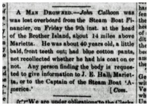 John Calhoon Drowning The Marietta Intelligencer 5 May 1846 p2c2