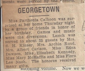Parthenia Calhoon Newspaper Clip (Anna L and John F Nash Collection)